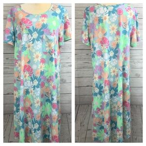 LuLaRoe Carly Light Pastel Floral Hi-Low Dress